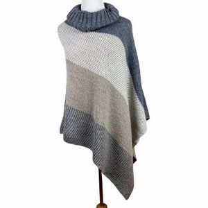 Made In Italy Wool Poncho Knit Sweater Turtleneck